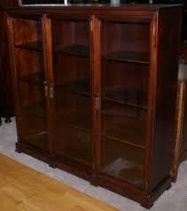 Glass Door Bookshelf Antique Bookcase Mahogany Bookcases