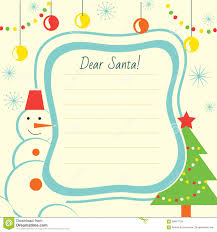 christmas letter template to santa claus for print stock vector