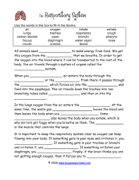 respiratory system fill in the blank worksheets the human