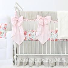 Vintage Floral Crib Bedding Adalyn S Blush Floral Linen Lace Ruffle Bumperless Crib Bedding