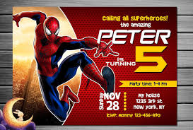 spiderman invitation spiderman birthday spiderman party