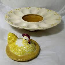 ceramic egg dish hen chicken deviled egg dish platter 12 eggs handmade painted