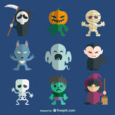 halloween character pack vector free download