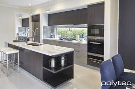 modern kitchen designs melbourne polytec melamine black wenge matt and marina grey sheen polytec