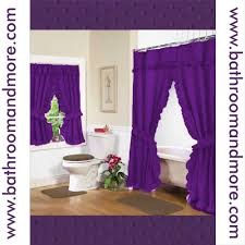 Purple Bathroom Window Curtains by Double Swag Purple Fabric Shower Curtain And Window Curtain Set