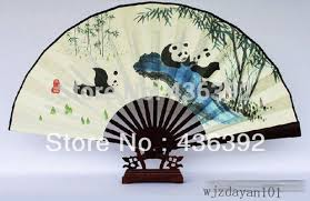 asian fan panda satin fan decorative asian wall folding