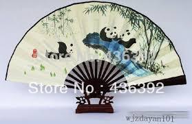 asian fan panda satin fan decorative asian wall folding
