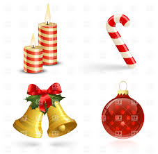 christmas tree decorations bells candles and candy cane vector