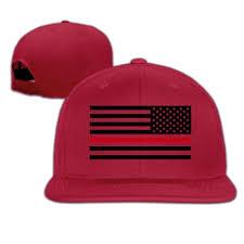 American Flag Flat Bill Hat Thin Red Line Flag Firefighter Hipster Snapback Baseball Cap Flat