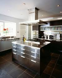 kitchen island extractor la004 03 modern fitted kitchen in stainless steel and