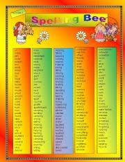 worksheet spelling bee for grade 3
