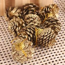 9pcs christmas tree decration gold pine cones xmas tree home decor