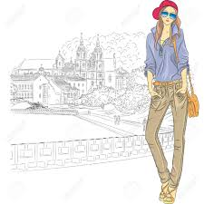 vector sketch of a fashion stylish in jeans jacket cap
