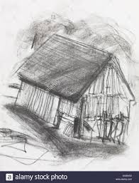 hand drawn charcoal sketch of an old barn stock photo royalty