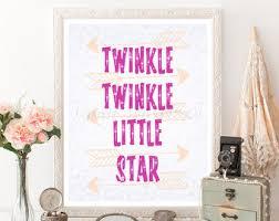 Twinkle Little Star Nursery Decor Nursery Art Pink Gold Fairy Wall Decor Baby Room Artwork