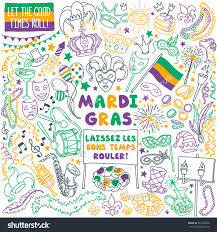 mardi gras traditional symbols collection carnival masks party