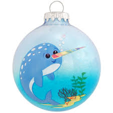 personalized narwhal blue glitter glass ornament bronner s