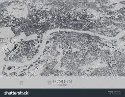 Satellite View Map London Map Satellite View City England Stock Illustration