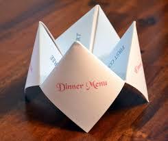 Diy Wedding Menu Cards Wedding Menu Cootie Catcher Reception Menu Dinner Menu