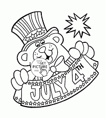 teddy bear and 4th of july coloring page for kids coloring pages