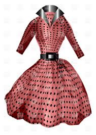 vintage pink polka dot dress with belt vector clipart image 34506