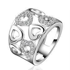 large silver rings images 2016 hot 925 silver jewelry love heart 925 silver crystal ring jpg
