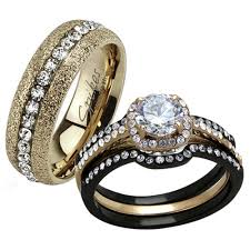 black wedding rings his and hers st2020 rh78486 stainless steel his hers 4 pc black gold
