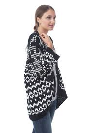 Drape Cardigan Pattern Women 3 4 Sleeve Knitted Geometric Pattern Shawl Open Drape