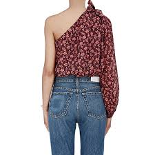 one shoulder blouse ulla johnson enid bow detail one shoulder blouse evachic