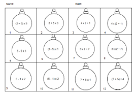 Order Of Operations Worksheet Answers Classroom Freebies Ornament Themed Order Of Operations Practice