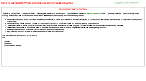 safety inspector work experience certificate