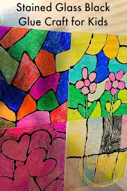 Kids Stained Glass Craft - stained glass black glue craft for kids