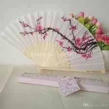 fan favors cherry blossom silk bamboo craft fan wedding favor plum blossom