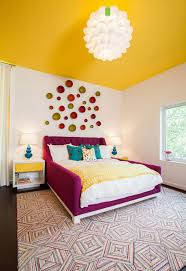 Bedroom With Bright Yellow Walls Bedroom With Purple Bed Frame And Yellow Ceiling Color Ideas For