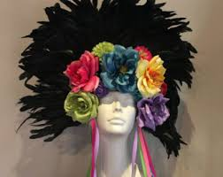 frida kahlo headdress day of the dead rose headpiece red