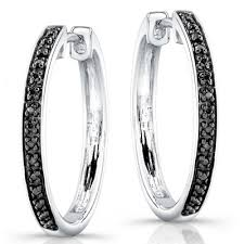 black diamond hoop earrings silver black diamond hoop earrings