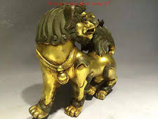 gold lion statues foo dog gold bronze antique figurines statues ebay