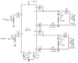 5x2 watt ba5406 stereo amplifier operates from 9v dc low