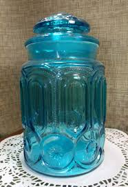 Cobalt Blue Kitchen Canisters Colonial Blue Le Smith Moon U0026 Stars Glass Sugar Canister 9 1 2