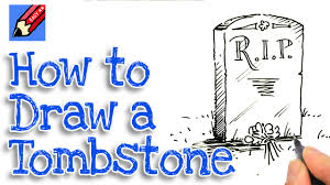 halloween tombstones on a black background learn how to draw a tombstone real easy for kids and beginners