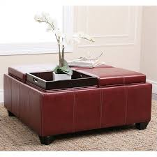 abbyson living trapani square faux leather ottoman coffee table in