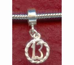 birthday charm bracelet sterling silver 13th birthday charm fits most bracelets by juzii