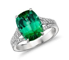 blue green rings images Green tourmaline and micropav cubic zirconia ring in 14k white jpg