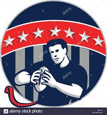 Blue Flag Stars In Circle Illustration Of A Flag Football Player Qb Holding Ball Running Set