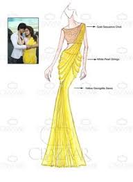diy dilwale inspired yellow georgette saree sketch pinterest