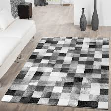 teppich für wohnzimmer designer teppich wohnzimmer karo design optik grau anthrazit