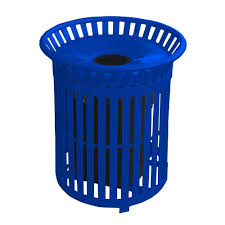 paris 34 gal blue steel outdoor trash can with steel lid and