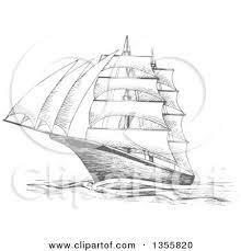clipart of a sketched gray sailing tall ship royalty free vector