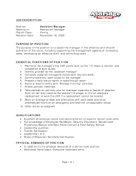 Manager Job Description Resume by Resume Restaurant Manager Duties For Resume