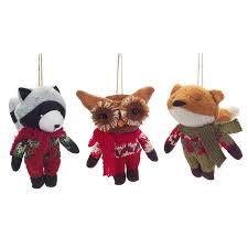 pack of 6 stuffed plush woodland raccoon owl and fox